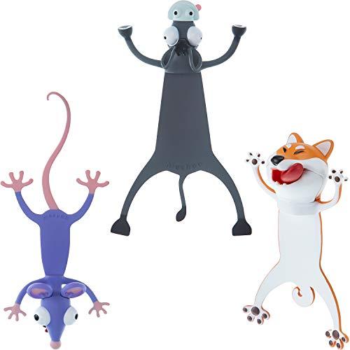 3 Pezzi Segnalibro Animale 3D del Fumetto Segnalibro di Animali Divertenti di Lettura Segnalibri Carini Cancelleria di Animali Schiacciati per Ragazzi, Bambini Studenti