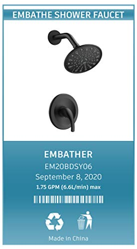 EMBATHER Shower Faucet with Valve,Shower Faucets Sets Complete with 6 Spray Touch-Clean Shower Head,Single Function Shower Trim Kit,Matte Black
