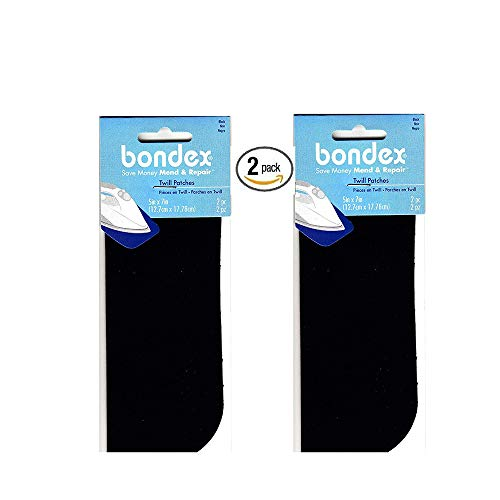 2 Pack of 2 Bondex Black 5' x 7' Iron On Twill Patches