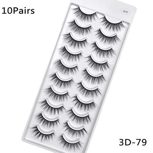 5 / 10pairs HandMade Vison Cils Maquillage 3D Mink cils naturels Faux cils longs cils Extension 5 paires Faux Cils (Color : 10pair 3D 79)