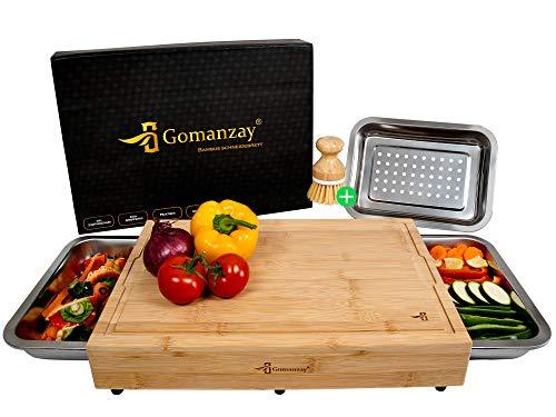 GOMANZAY® Planche à découper Premium avec 3 plateaux collecteurs et rainure à jus - planche en bois de bambou - Planche à découper XXL avec plateau collecteur - avec brosse et boîte cadeau