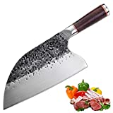 Promithi Full Tang Forged Handmade Professional Kitchen Chef Knife, Meat Cleaver Serbian Butcher Chopper Boning Vegetable Household Utility Knives Dual-purpose for Fishing Camping Outdoor (classic)