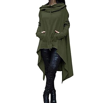 TAORE Women Casual Irregular Hood Sweatshirt Long Hooded Pullover Blouse Tops