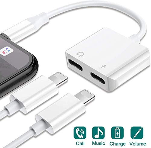 Headphone Adapter for iPhone 11 Charge Adapter Earphone Cable Splitter Connector Suitable for iPhone Xs Max/Xs/XR/8/7 8/7Plus Adapter Audio & Charger & Call Cable &Control Support All iOS (White)