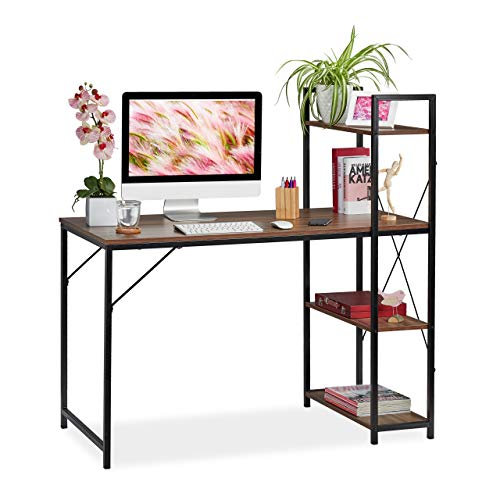 Relaxdays, 121 x 120 x 62 cm, Marrón/Negro Escritorio & Estantería, Cuatro estantes, Mueble Moderno, DM-Metal
