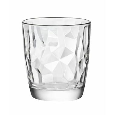Bormioli Rocco Diamond Double Old Fashioned Glasses, Clear, Set of 6, 13-1/4 Ounce
