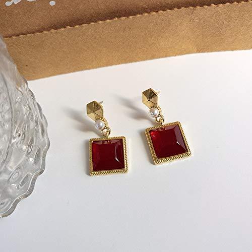 FEARRIN Pendientes Declaración de Moda Joyería Francesa Pendientes Rojos Cuadrados geométricos Simples Retro Perlas pequeñas Pendientes Colgantes de Resina Joyería Delicada Mujer Chica Regalos Stud