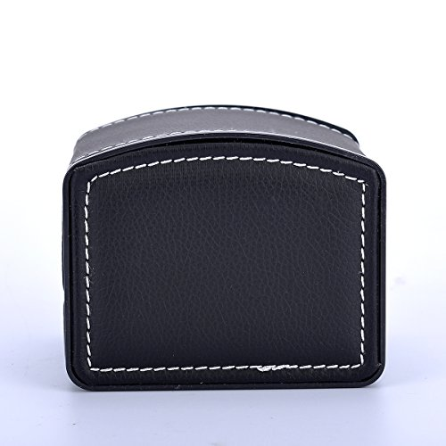 VALYRIA Watch Box Small 1 Mens Black Leather Display Glass Top Jewelry Case Organizer