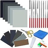 28 herramientas de resina fundida, incluye papel de lija, paño de pulido, barras pulidoras, diferentes formas, archivos y tijeras para pulir resina epoxi, fabricación de joyas.