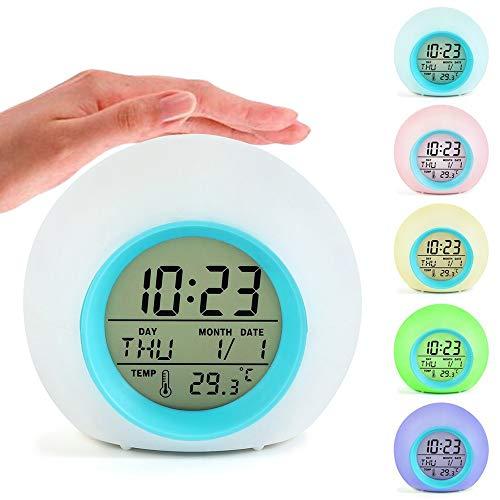 Finlon Reloj Despertador 7 Colores cambiantes para mesita de Noche, Reloj Despertador, luz Digital, con visualización de la Naturaleza, con Temperatura y Calendario para Adultos y niños, cumpleaños