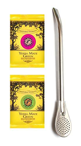 Mate Green Yerba Mate Tea and Silver Bombilla 17.5 cm