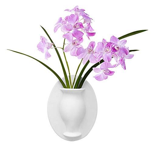 SZRWD Magische Blume Vasen,Silikon-Sticky-Vase,Magic Wall Decor Pflanzenvasen,Hergestellt aus Silikon,geeignet für Wohnzimmer,Räume,und Büros als Ornamente(Milchweiß)