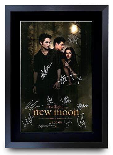 HWC Trading La Saga Crepúsculo: Luna Nueva Moldeada Regalo Kristen Stewart, Robert Pattinson Autógrafos En La Imagen Impresa Poster para La Película Recordaba De Fan - A3 Enmarcada