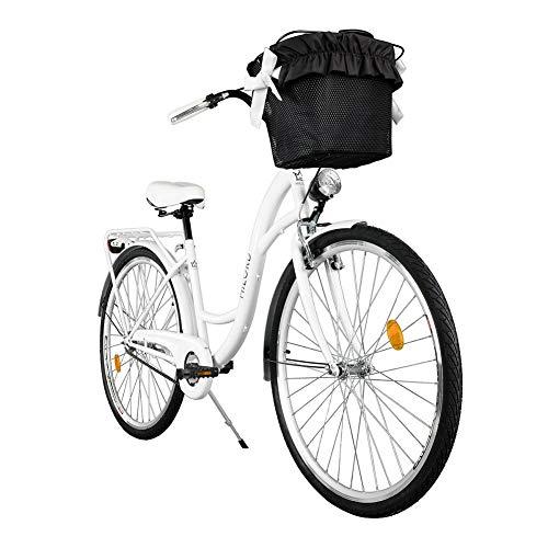 Milord. Komfort Fahrrad mit Rückenträger, Hollandrad, Damenfahrrad, 3-Gang, Weiß, 26 Zoll