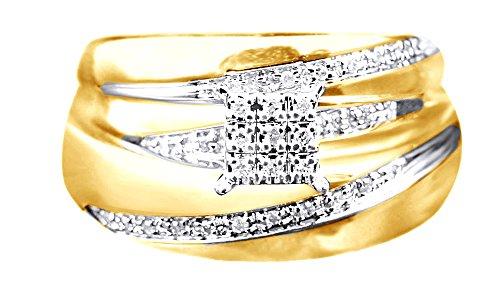 Anillo de compromiso y boda de diamantes naturales blancos en oro de 9 quilates (0,12 quilates), Diamond,