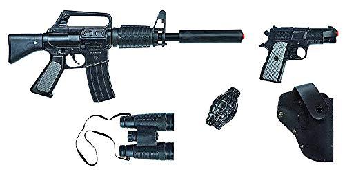 Das Kostümland Gonher 446/6 Special Agent FBI Set - 5-tlg. - Spezialeinheit Spielzeugwaffen Sturmgewehr Polizei Polizist Pistole