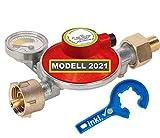 Stellfeld & Ernst Caravanregler Gasregler 30mbar für Wohnmobil Wohnwagen mit Manometer 360°- drehbar Gasfüllstandsanzeige Schlauchbruchsicherung Gasregler-Schlüssel mit Magnet für Gasflasche
