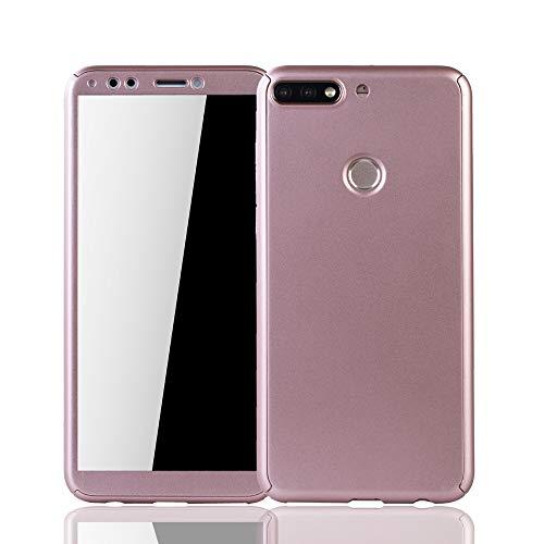 Schutz-Case geeignet für Huawei Honor 7C Hülle mit Panzerglas | Sturzsichere Full Cover Handyhülle in Rose