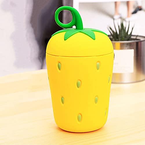 woyada Taza de agua creativa de fresa, portátil resistente al calor de acero inoxidable ABS para el hogar Camping viajes (270 ml)
