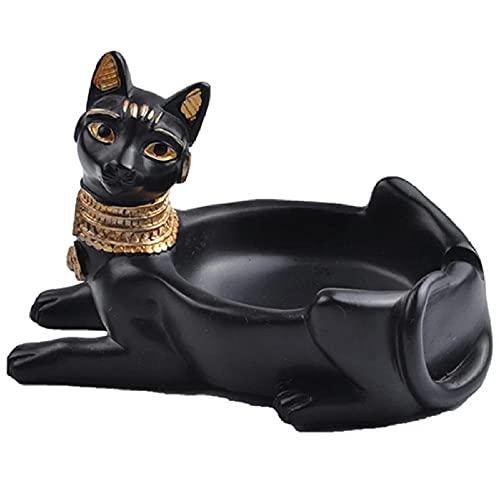 Cenicero de cigarrillos Estatua de la diosa del gato Bastet egipcio antiguo, Soporte de ceniza para fumadores, Cenicero de mesa para fumar Cenicero Bar De oficina en casa