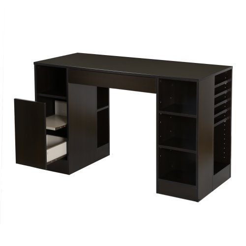 South Shore Crea Craft Table with Open and Closed Storage, Chocolate