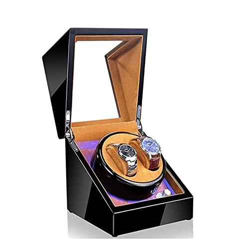 HEZHANG Watch Box Reloj de Madera de Gama Alta Winder 5 Modos 2 Asientos Azul Atmósfera Lámpara Reloj Automático Winders con Función de Parada de Abrigo,E