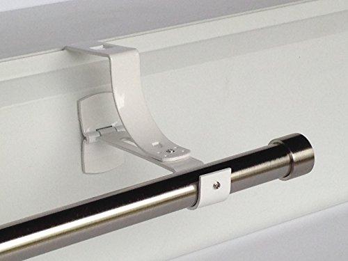 2 supports sans perçage GEKO pour tingle à rideaux diamètre 20 mm - Spécial coffre de volet roulant à rainure - Colori : Blanc