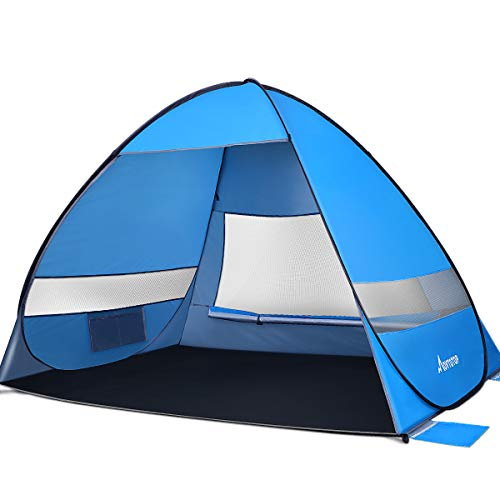 MOVTOTOP Beach Tent 【2020 Newest】, Large Pop up Beach Tent for 4 People, Anti-UV Automatic Beach Tent Sun Shelter Instant Portable, 4 Sides Ventilation Design Sun Shelter Tents, Suitable for Family