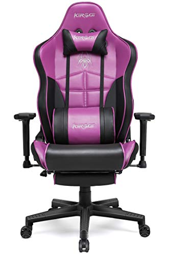 Kirogi Gaming-Stuhl, Gamer-Stuhl mit Fußstütze, Ergonomischer Computerstuhl, Verstellbarer PC-Gaming-Stuhl für Erwachsene, großer und hoher Bürostuhl aus Kohlefaser Leder. Violett