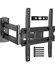 PERLESMITH TV Wall Mount Bracket Full Motion Single Articulating Arm for Most 32-55 inch LED LCD OLED Flat/Curved Screen TVs with Tilt, Swivel and Rotation Up to 77lbs VESA 400x400mm- PSMFK7