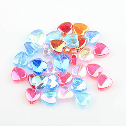 200pcs / 8x4mm los espaciadores de los granos de acrílico del corazón del color del AB for la joyería que hace la costura al por mayor de accesorios de bricolaje de pulsera Making ( Color : Mixed )
