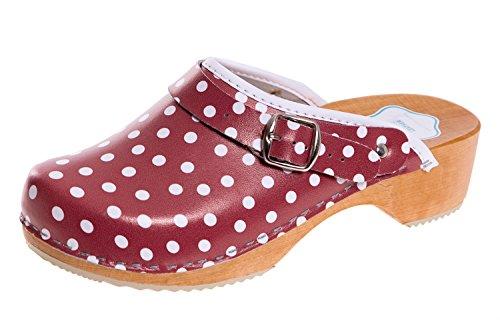 FUTURO FASHION® - Damen Clogs - gesund & natürlich - Echtleder - Holzsohle - Unisex-Farben - einfarbig - Größe 36-42 - Rot/Weiß gepunktet - 42 EU