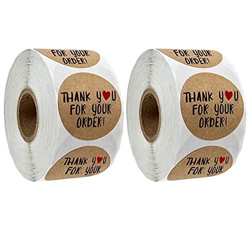 TOMOP 2 unids etiqueta de agradecimiento etiqueta de envío pegatinas de embalaje etiqueta de negocios para tienda restaurante sellado bolsas decoración 500 pegatinas por rollo