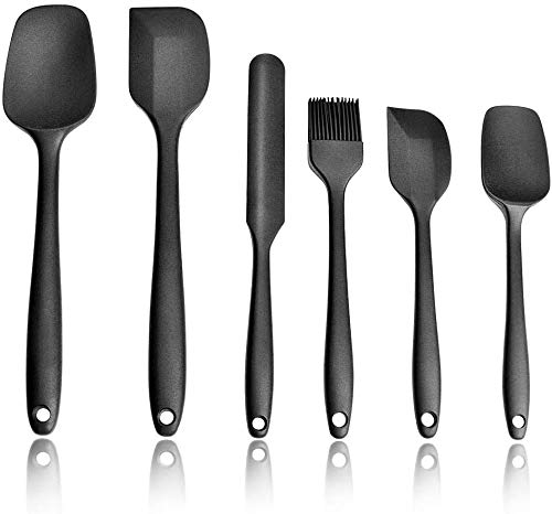 Silicone Spatulas Set 6, Including Spoon Spatula, Spatula, Spreader, Cooking Brush, Silicone Resistant to High Temperature and Nonstick, for Cooking&Baking, Dishwasher Safe, Black