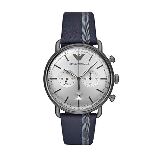 Emporio Armani Herren Chronograph Quarz Uhr mit Leder Armband AR11202