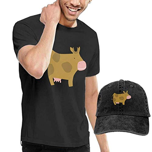 Tengyuntong sunminey Homme T- T-Shirt Polos et Chemises Men's Cute Cow T-Shirts Pullover with Cowboy Hat
