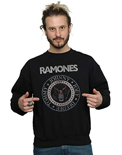 Absolute Cult Ramones Hombre Red White and Blue Seal Camisa De Entrenamiento Negro XX-Large