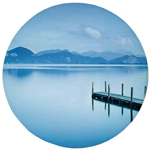 Round Rug Mat Carpet,Summer,Wooden Pier Jetty Lake Sky Reflection on Water Serene Tranquil Summer View Print,Light Blue,Flannel Microfiber Non-Slip Soft Absorbent,for Kitchen Floor Bathroom