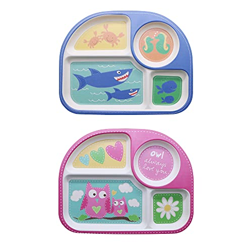 EULANT Platos Compartimento para Bebé, 2pcs Cuberteria Infantiles Bambu, Set de Vajilla Infantil Seguro Degradables Materiales Sin BPA,Búho + Tiburón
