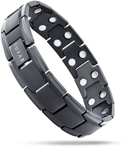 Men s Titanium Magnetic Therapy Linked Bracelet LUXAR Double Magnet Strength Designed for Arthritis product image