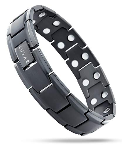 Men's Titanium Magnetic Therapy Linked Bracelet   LUXAR Double Magnet Strength   Designed for Arthritis, Tendonitis, Tennis/Golf Elbow, Carpal Tunnel Syndrome and Physical Pain Relief (Brushed Black)