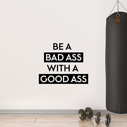 Vinyl Wall Art Decal - Be A Bada$s with A Good A$s - 22.5 x 27 - Motivational Workout Home Apartment Decor - Gym and Fitness Motivation Healthy Lifestyle Wall Door Quotes (22.5 x 27, Black)