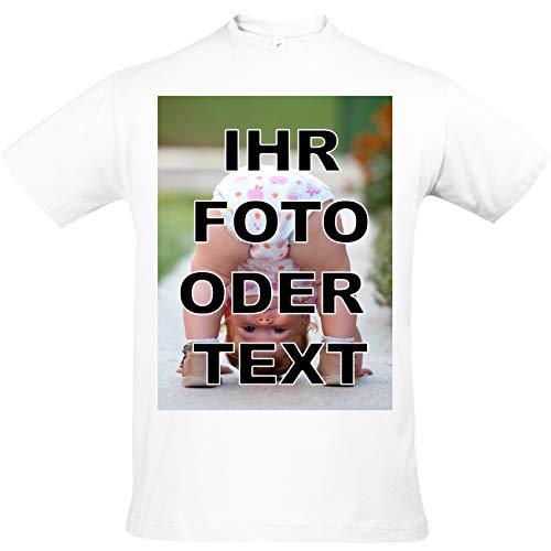 T-Shirt Bedrucken mit eigenem Bild oder Text, Tshirt Designer, T-Shirt selbst gestalten, T-Shirt Druck. (Weiss, M)