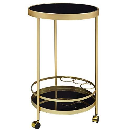 FineBuy Design Servierwagen Gold Rund Ø 45cm 2 Ebenen | Beistelltisch auf Rollen mit | Speisewagen Glasplatte Schwarz | Küchenwagen | Teewagen