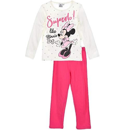Minnie Mouse Schlafanzug Mädchen Pyjama Lang Einhorn (Rosa-Weiß, 92-98)