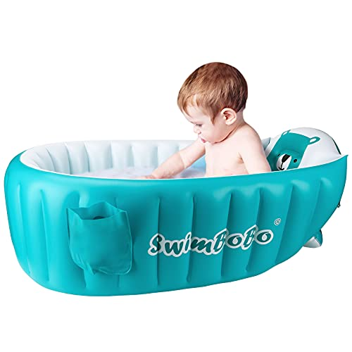 Inflatable Baby Bath Tub Portable Foldable Travel Mini Swimming Pool Helps Infants to Toddler Tub (Blue)