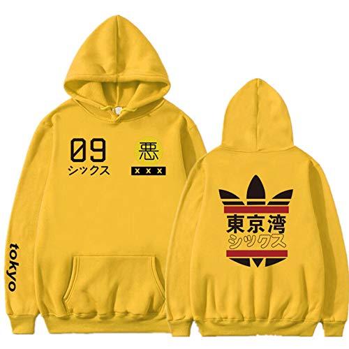 HNOSD 2019 Neue Männer Frauen Hoodies Harajuku Frühling Sweatshirts Tokyo Bay Hoodies Outwear Mode Gummi Pulver Hip-Hop Jungen Kleidung 7 gelb S