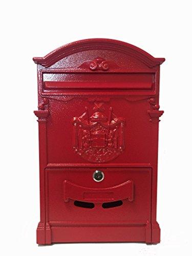Briefkasten, englisches Design mit Wappen, Rot