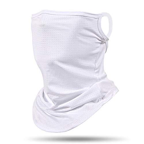 Face Mask Reusable Washable Cloth Bandanas Women Men Neck Gaiter Cover Ear Loops for Women Men Outdoors Sports White