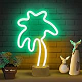 Lumoonosity Palm Tree Lights Neon Signs - Coconut Tree Neon Light for Bedroom, Desktop, Tabletop Decor - Battery/USB Powered Led Palm Tree Light - Palm Tree Lamp with Stand- Green&Yellow Led Sign